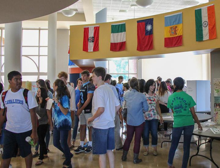 Students gather in the cafeteria to sign up for clubs