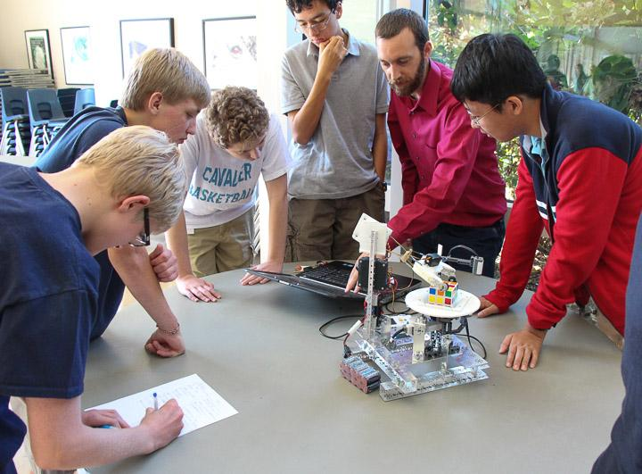 The Robotics Team demonstrates its handiwork
