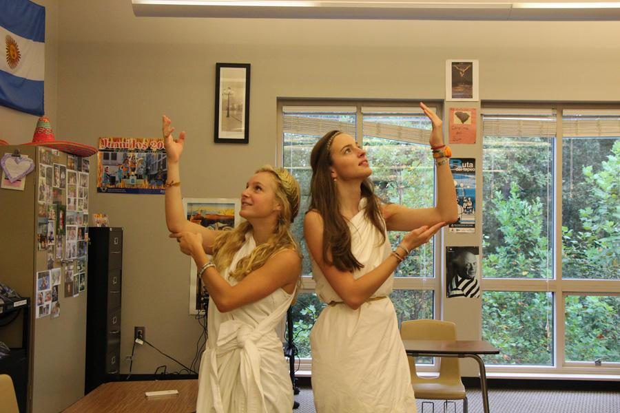 Two students show off their Greek-style.