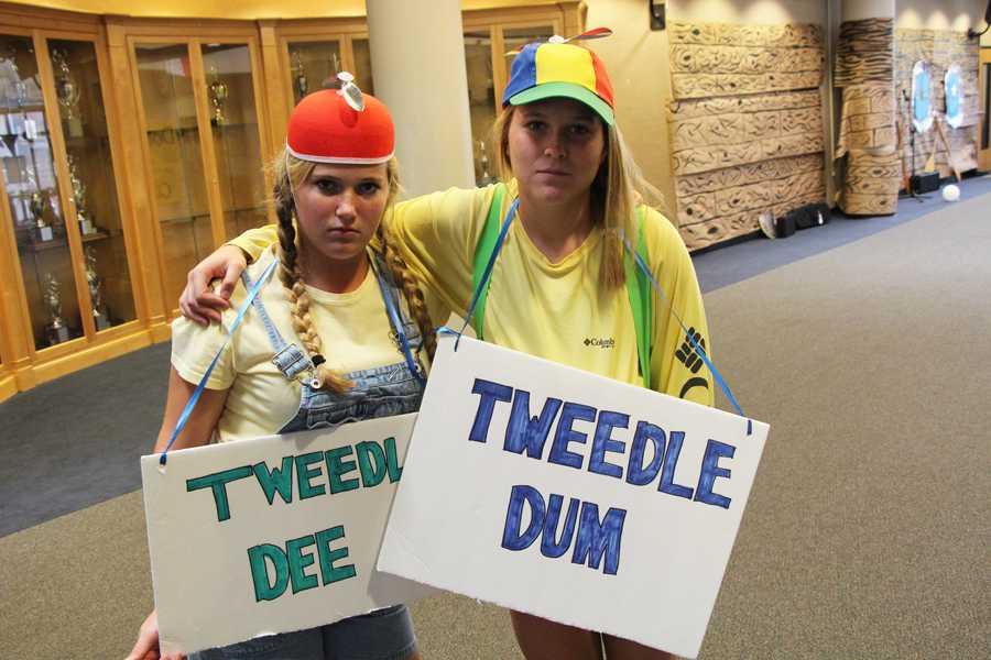 Tweedle-Dee and Tweedle-Dum look happy as can be.
