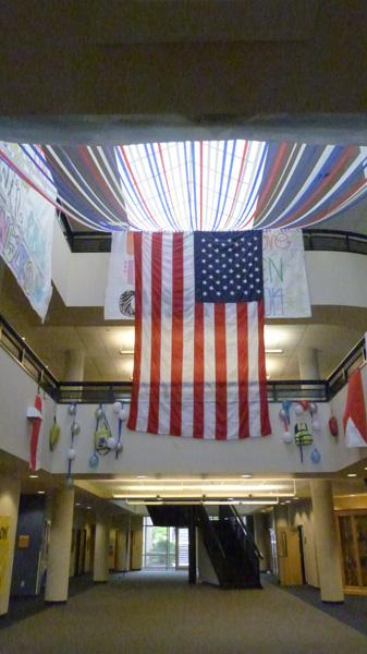 Borrowed from last year, the large American flag has made a return.