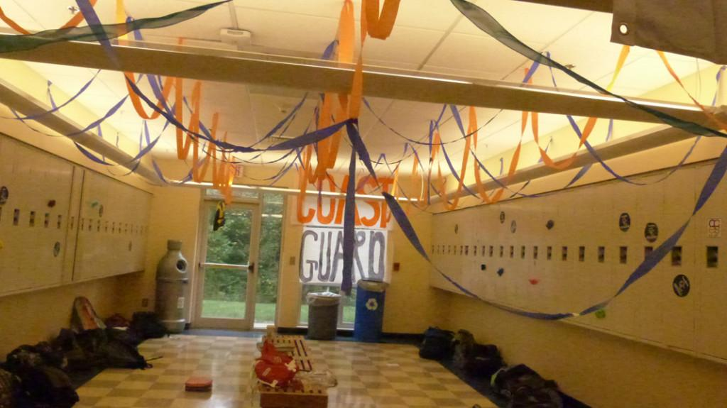 The Freshman cave is adorned with Coast Guard-theme decorations.