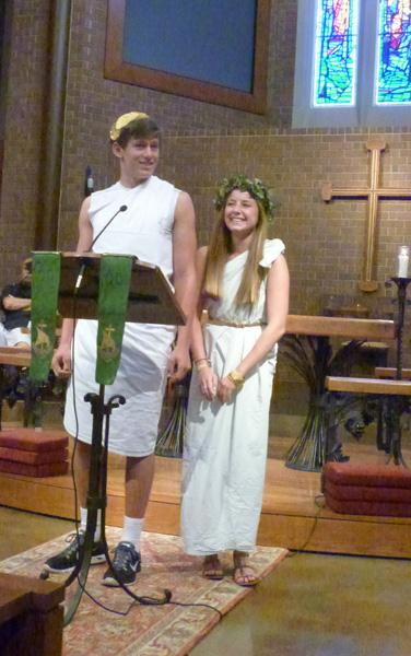 Freshmen present their costumes, saying simply Were wearing togas. Well put.