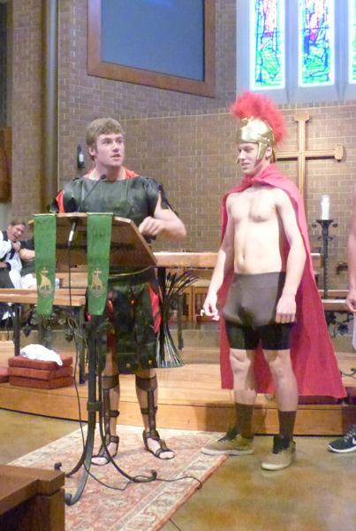 Junior Spartans rally their troops in assembly.