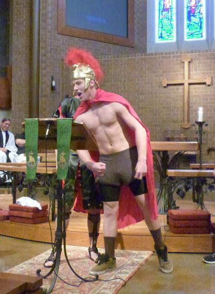 During assembly, two Junior boys, dressed as Spartans, reenact the famous speech from the film