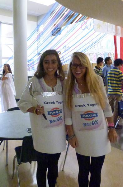 Two Senior girls dress as Greek yogurt cups to celebrate Greek Day on Monday.