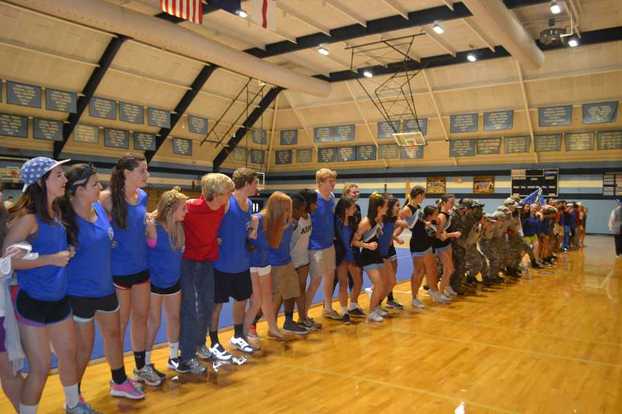 The Senior class lines up to kick off the pep rally.
