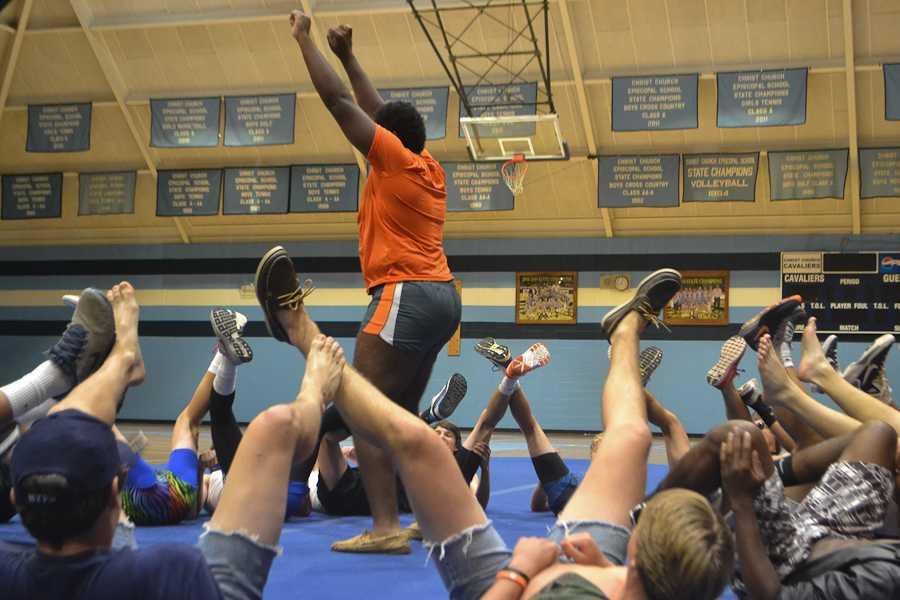 The Senior and Freshmen boys show off their moves.