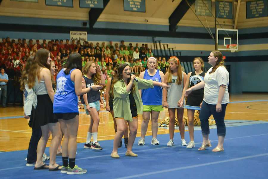 The female a-capella group, the Blue Belles, perform their version of