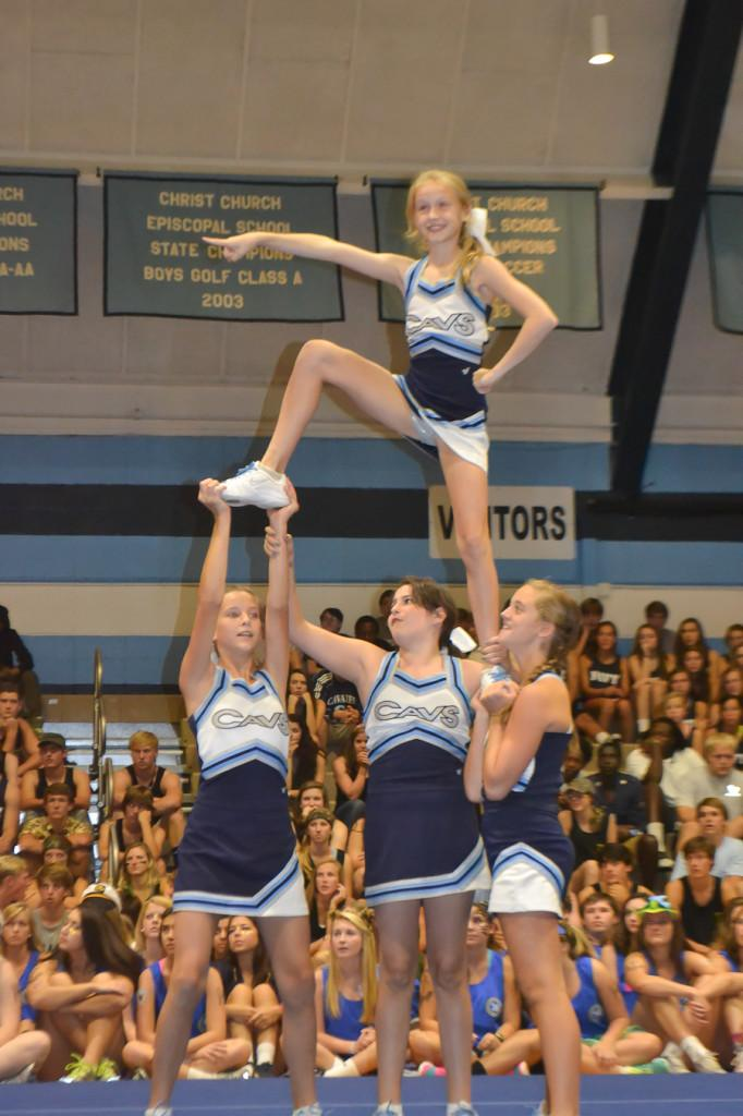 The Varsity Cheerleaders give the students something to cheer for with their impressive moves.