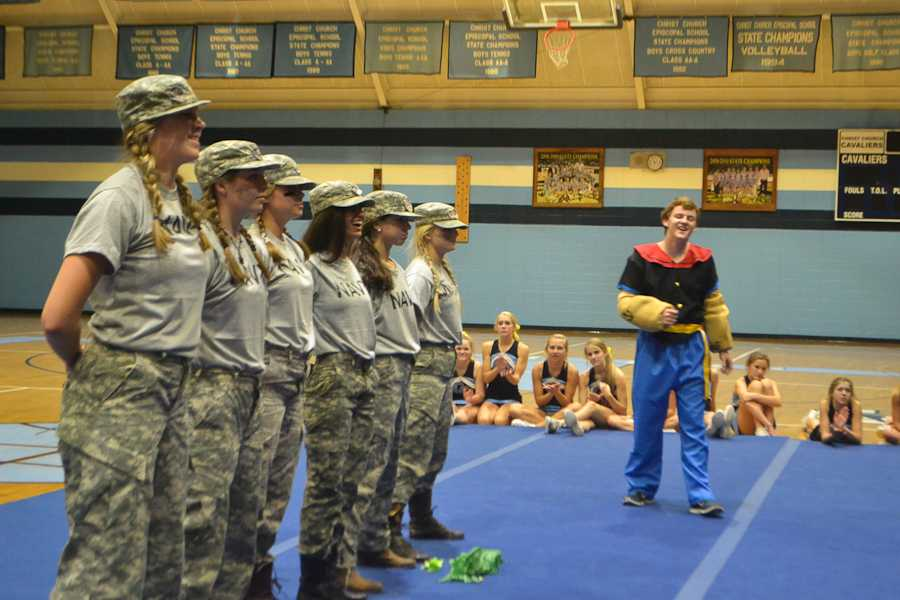 Seal Team 6, along with Popeye, perform for the Upper School
