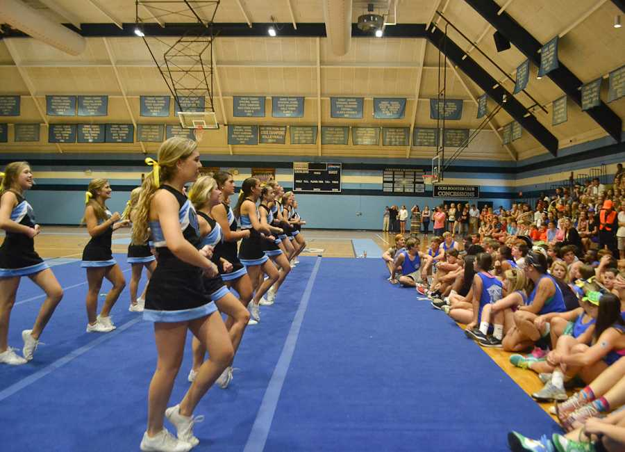 The Cheerleaders get the Upper School students excited for the upcoming powderpuff game.