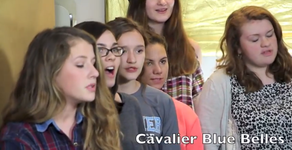 The Cavalier BlueBelles sing for the Athenian Tiny Closet Concert Series.