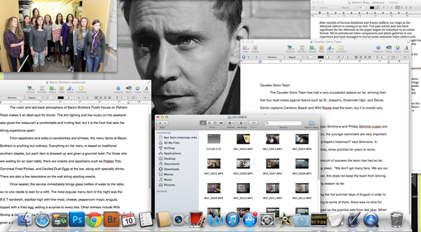 Always making space for our beloved Tom, this is what our desktops look like most class days.