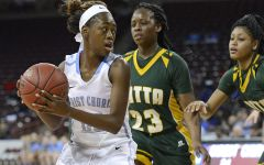 Junior guard Shayla is defended during the championship game.  (Bart Boatwright/Greenville News)