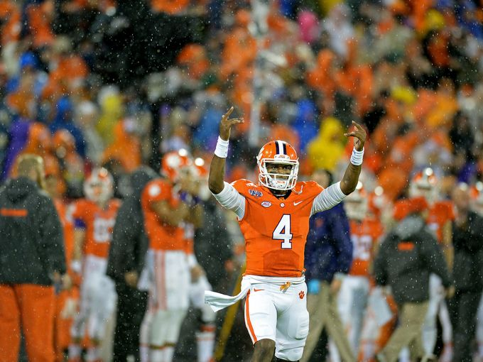 Deshaun Watson celebrates during Clemson's victory over Notre Dame (Bart Boatwright/Greenville News).