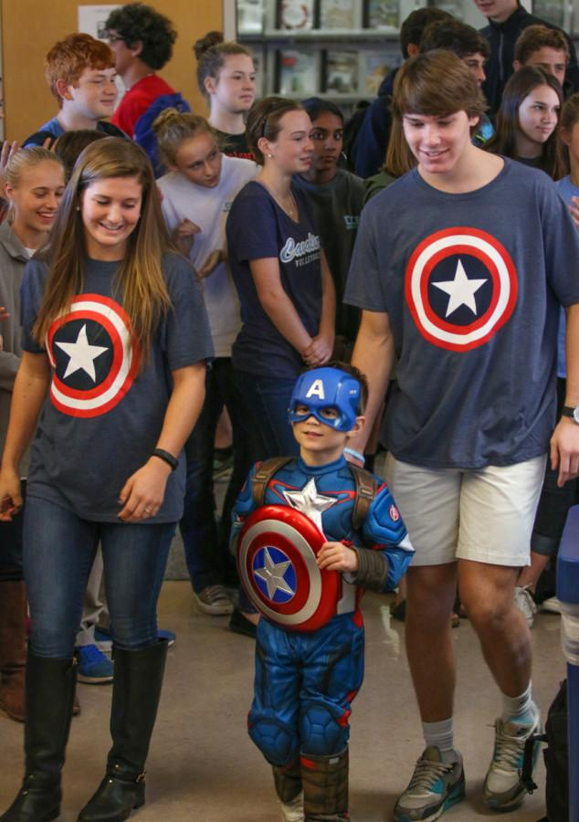 On Friday, October 30, seniors and their primer partners paraded around the CCES campus in their Halloween costumes (Karl Schmidt/Contributed Photo).