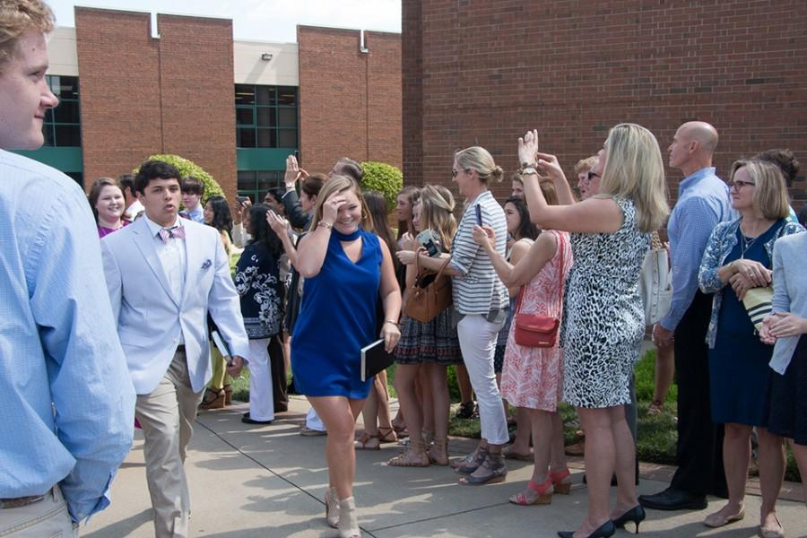 The seniors paraded around the Christ Church campus on Wednesday following the senior chapel (Roe Willcox/Staff Photo).