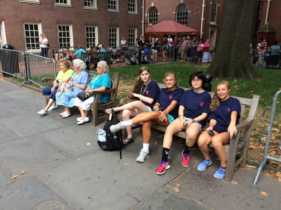 Students take a break from their busy day in Philadelphia (Molly Miller).