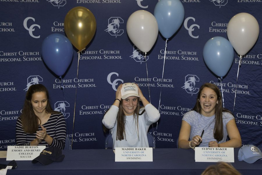 Sydney and Maddie Baker commit to swim at UNC while Sadie Burton commits to play soccer at Emory and Henry