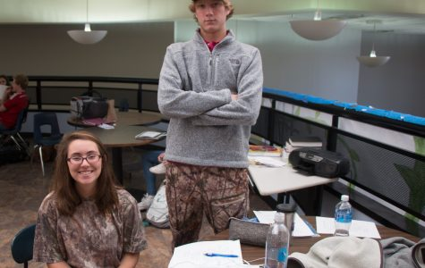 Students sport army related apparel in honor of Battleship Day.