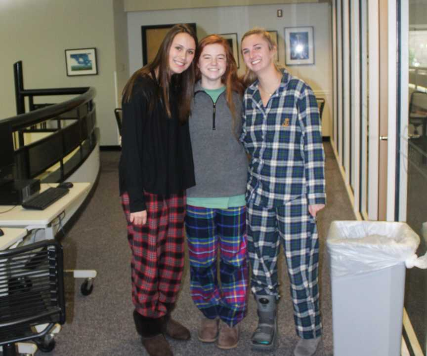 Students+enjoy+dressing+up+in+their+pajamas+on+the+first+day+of+Spirit+Week.