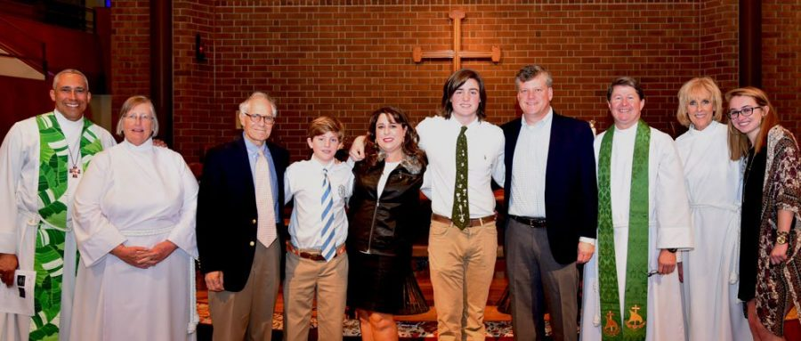 Matthew celebrates his award with family, school chaplains, Dr. Kupersmith, and others. (Courtesy of cces.org)