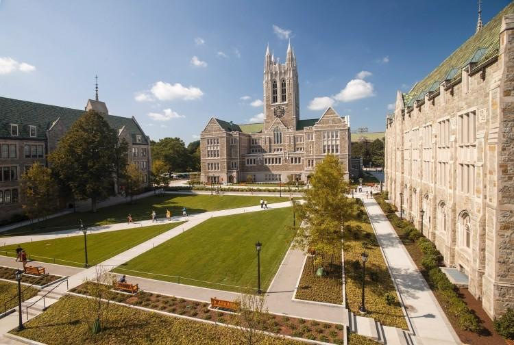 The beautiful campus is just outside of Boston in Chestnut Hill (photo courtesy of bc.edu).